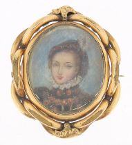 Victorian oval hand painted portrait miniature of a female in Elizabethan dress housed in a gilt