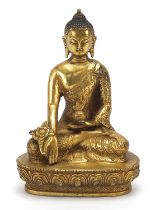 Chino Tibetan gilt bronze figure of seated buddha, 13cm high