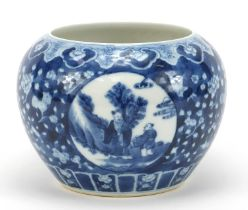 Chinese blue and white porcelain prunus ground vase hand painted with panels of figures, birds and a