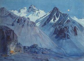 Ernest Courtois de Bonnencontre - Moonlight, Argentinian Andes, watercolour, applied plaque to the