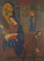 Two angels and a figure sewing before a church, Cusco school oil on canvas, mounted and framed, 84cm