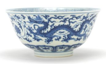 Chinese blue and white porcelain bowl hand painted with dragons, six figure character marks to the