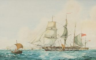 British frigate on water, maritime watercolour, mounted, framed and glazed, 60cm x 37.5cm