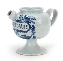 18th century Delft blue and white tin glazed drug jar with handle and spout, 18cm high