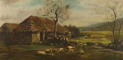 Sheep before a cottage and landscape, oil on canvas, mounted and framed, 59.5cm x 29.5cm excluding