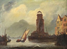Attributed to Frederick Calvert - French port with fishing boats, 19th century Irish school oil on