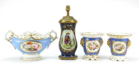 French porcelain to include table lamp hand painted with figures and flowers and three planters hand