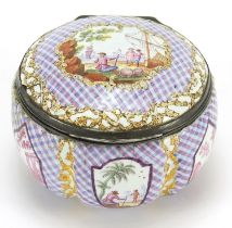 18th century enamel patch box with hinged lid and silver mounts, probably Staffordshire, 6cm in