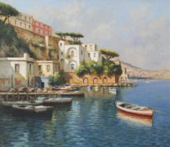 Mario Irace - Moored boats beside villas, Italian oil on canvas, with booklet, mounted and framed,