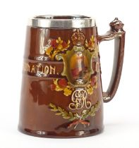 Royal Doulton tankard with a silver collar commemorating George V coronation, 12cm high