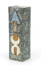 Troika St Ives Pottery square section vase hand painted and incised with an abstract design, 22cm