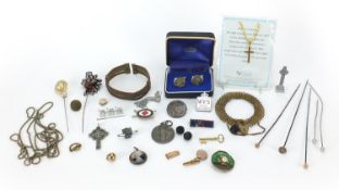 Vintage and later jewellery including an unmarked gold mounted hat pin, military interest brooches