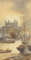 Alfred Edward Parkman 1908- Boats on the River Thames, early 20th century watercolour, mounted,