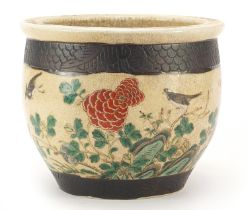 Chinese porcelain planter hand painted with flowers and birds, 24cm in diameter