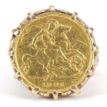 Edward VII 1906 gold half sovereign with 9ct gold ring mount, size S, 9.7g - this lot is sold