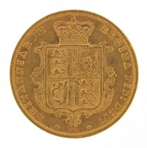 Queen Victoria Young Head 1877 gold shield back half sovereign - this lot is sold without buyer's