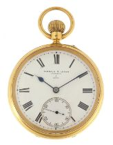 Barraud & Lunds, gentlemen's 18ct gold open face pocket watch, the movement numbered 3/5022, the