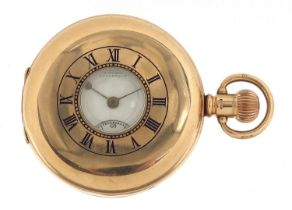 Coventry Astral, gentlemen's 9ct gold half hunter pocket watch with Rotherham District Golf Club