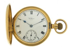 Waltham, gentlemen's 18ct gold full hunter pocket watch, the movement numbered 17613458, the case