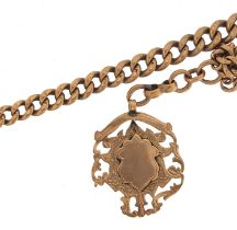 9ct rose gold graduated watch chain with sports jewel, 30cm in length, 38.7g - this lot is sold