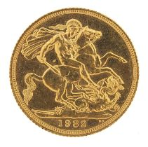 Elizabeth II 1982 gold sovereign - this lot is sold without buyer's premium