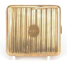 S J Rose & Son, 9ct gold cigarette case with engine turned decoration, London 1926, 8.5cm x 8cm,