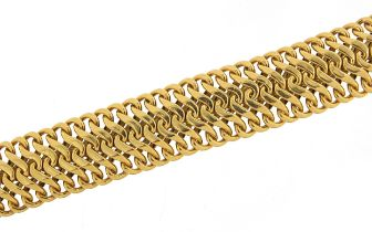 Heavy 18ct gold multi link bracelet, 18cm in length, 53.7g - this lot is sold without buyer's