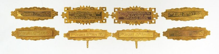 Eight 9ct gold 1920's and 30's gold medal bars, each approximately 4.5cm wide, total 27.8g - this
