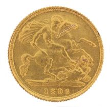 Queen Victoria 1896 gold half sovereign, - this lot is sold without buyer's premium