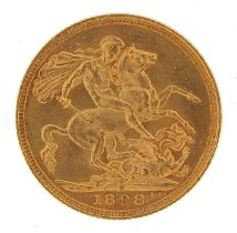 Queen Victoria 1898 gold sovereign, Sydney mint - this lot is sold without buyer's premium