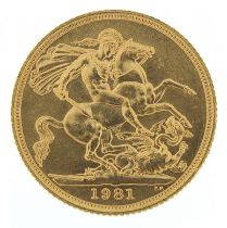 Elizabeth II 1981 gold sovereign - this lot is sold without buyer's premium