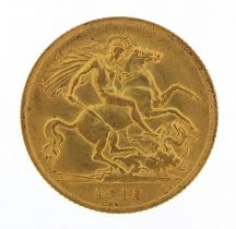 George V 1912 gold half sovereign - this lot is sold without buyer's premium