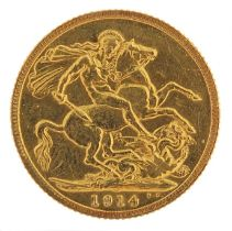 George V 1914 gold sovereign - this lot is sold without buyer's premium