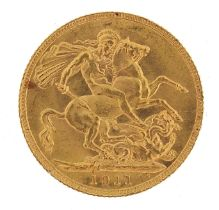 George V 1911 gold sovereign - this lot is sold without buyer's premium