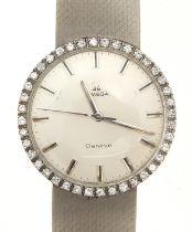 Omega, gentlemen's 18ct white gold Omega Geneve wristwatch with diamond set bezel and 18ct white