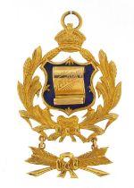 9ct gold and enamel Secretary jewel awarded to Primo J E Morgan by The Sir John Weekes Lodge, 5.