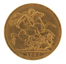 Queen Victoria Jubilee Head 1887 gold sovereign, Melbourne mint - this lot is sold without buyer's