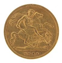 Queen Victoria 1900 gold half sovereign - this lot is sold without buyer's premium