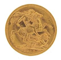 George V 1913 gold sovereign, Melbourne mint - this lot is sold without buyers premium