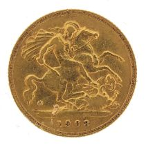 Edward VII 1903 gold half sovereign - this lot is sold without buyer's premium