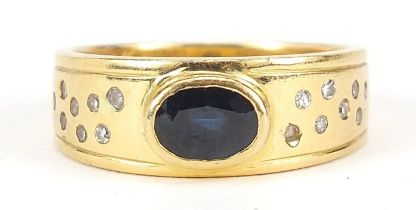 Unmarked gold sapphire and diamond ring, (tests as 15ct gold +) size S, 9.5g - this lot is sold