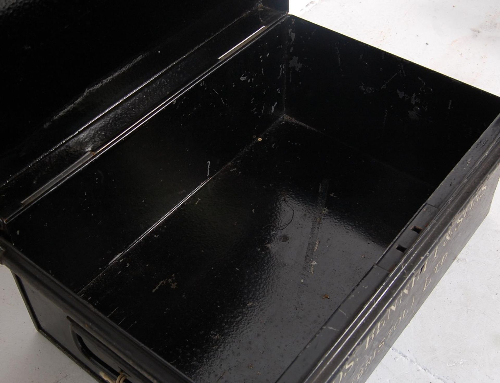 COLLECTION VINTAGE METAL DEED / BANK VAULT STORAGE CHESTS - Image 9 of 11