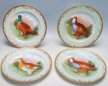 SET 4 JEAN POUYAT LIMOGES GAME BIRD CABINET PLATES