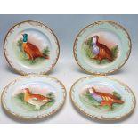 SET 4 JEAN POUYAT LIMOGES GAME BIRD CABINET PLATES