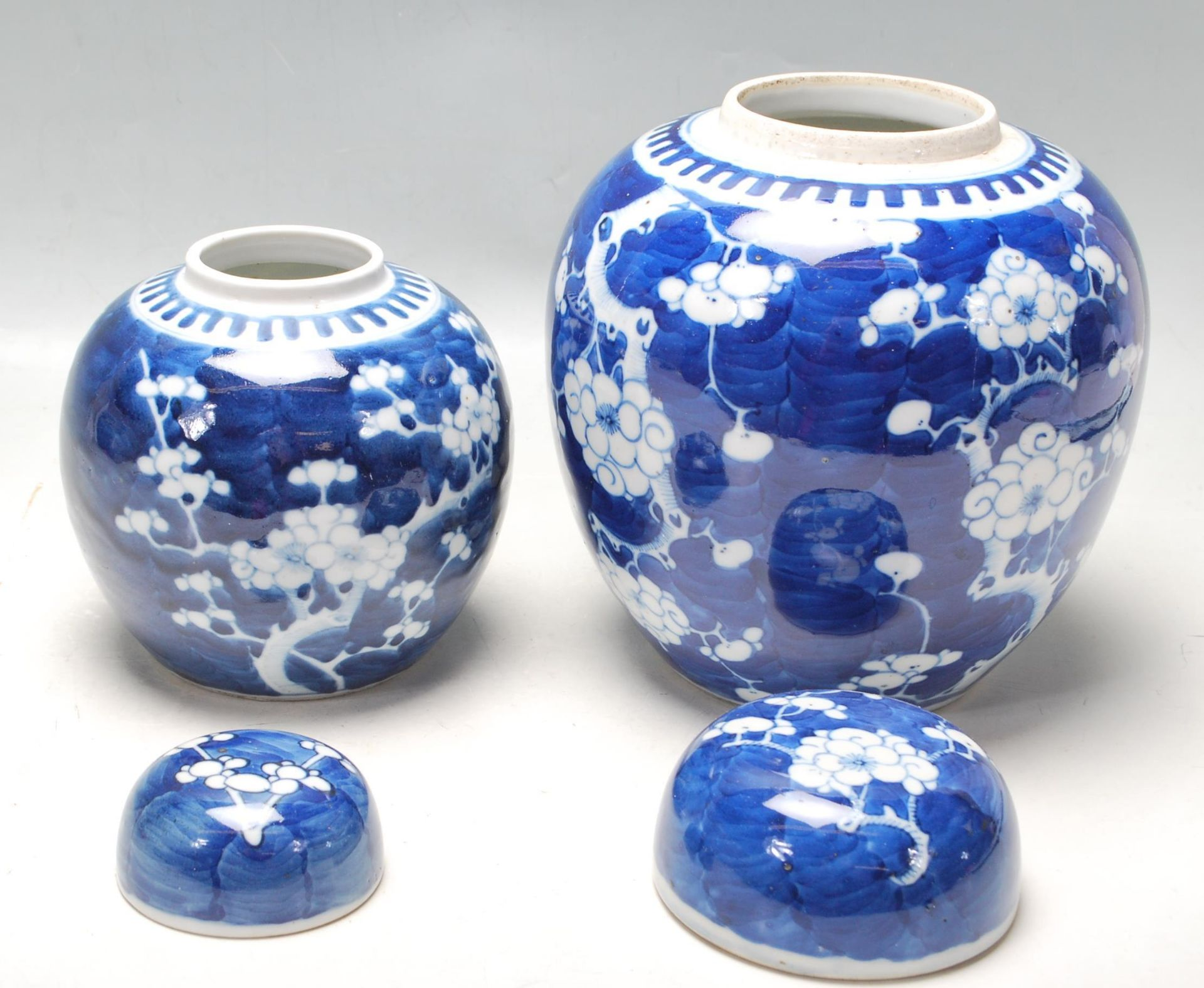 TWO ANTIQUE EARLY 20TH CENTURY CHINESE BLUE AND WHITE GINGER AND JARS - Image 2 of 8