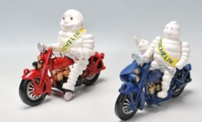 VINTAGE STYLE CAST IRON MICHELIN FIGURINES RIDING MOTORCYCLES