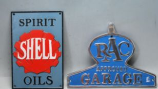 TWO VINTAGE STYLE CAST IRON ALUMINIUM SHOP DISPALY ADVERTISING SIGNS