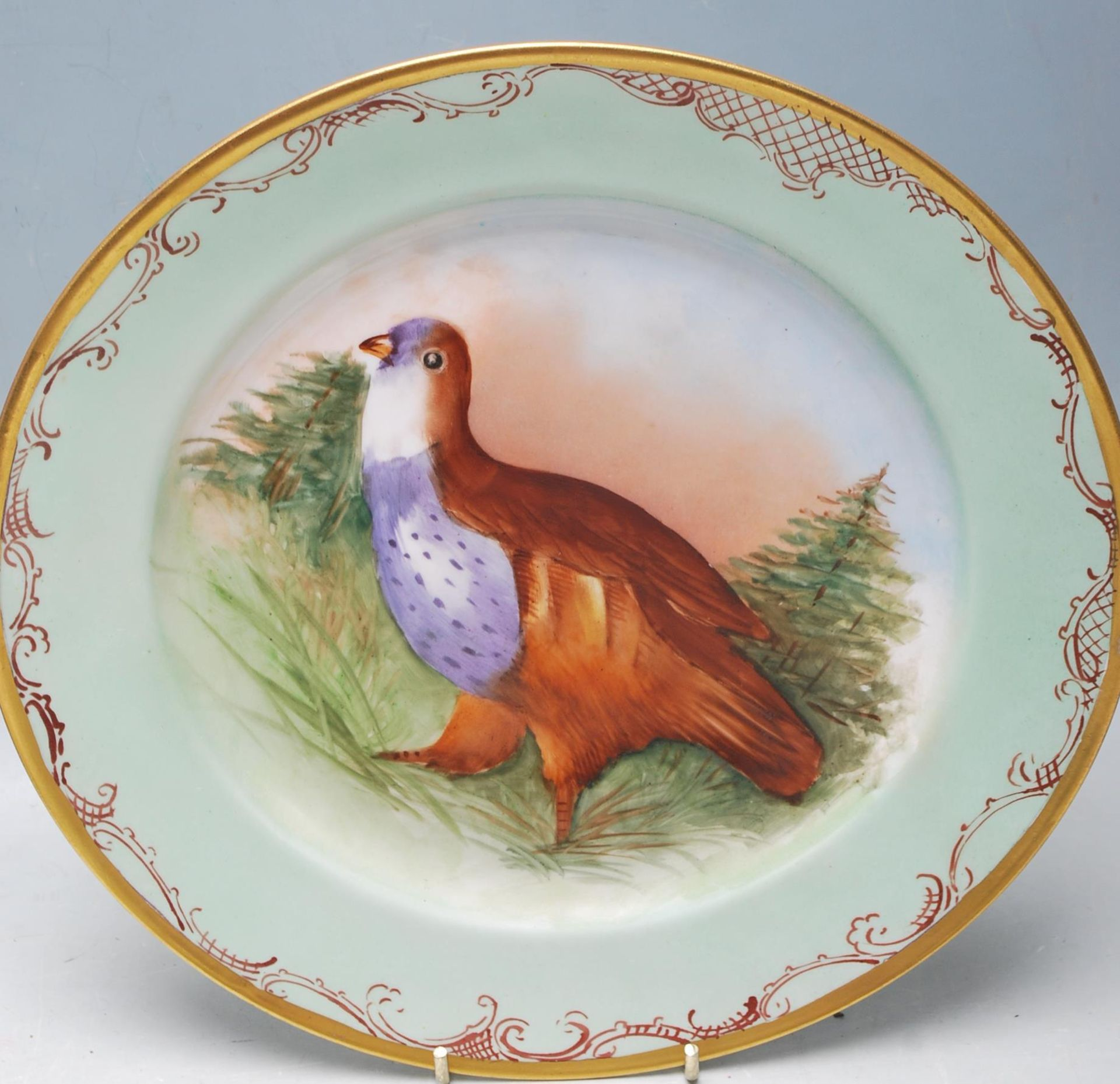 SET 4 JEAN POUYAT LIMOGES GAME BIRD CABINET PLATES - Image 3 of 6