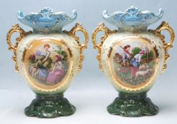 PAIR OF ANTIQUE EARLY 20TH CENTURY VASES HAVING A CENTRAL TRNASFER PRINTED PANEL OF SHEPHERDESSES