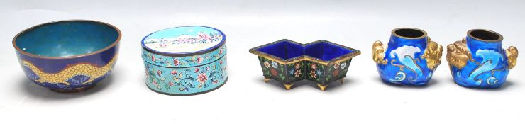 FIVE EARLY 20TH CENTURY CHINESE ENAMEL BOWLS
